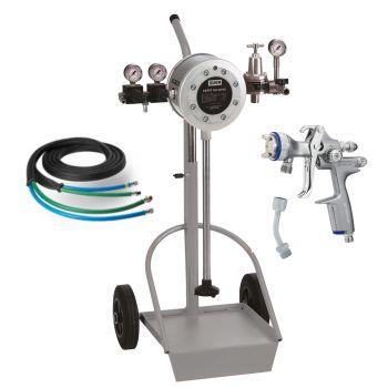 SATA® vario top spray™ Edelstahl mit SATAjet 1000 K RP (1,1 Düse), Schlauchpaar 10m und Materialrohr